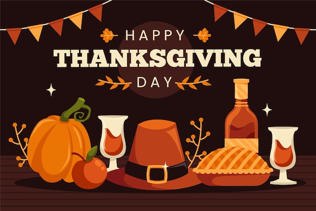 Flat design thanksgiving background