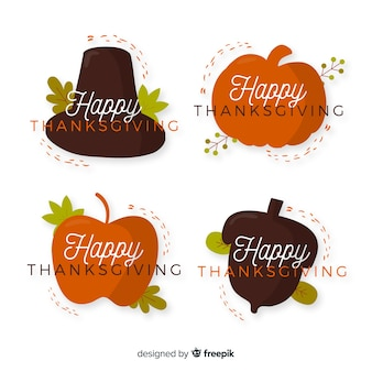 Flat design thanksgiving badge collection design