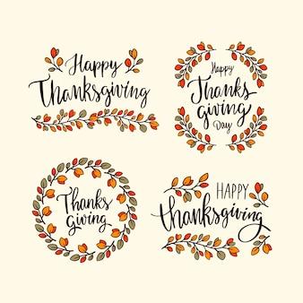 Плоский дизайн коллекции значков благодарения
