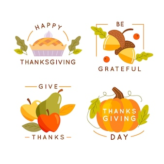 Flat design thanksgiving badge collection