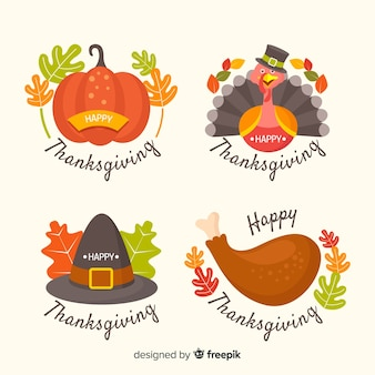 Flat design thanksgiving badge set