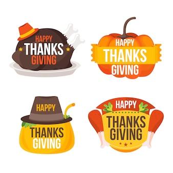 Flat design thanksgiving badge set
