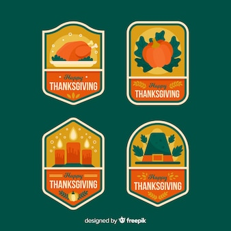 Flat design for thanksgiving bagde collection