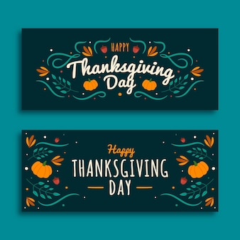 Flat design thanksgiving banner template