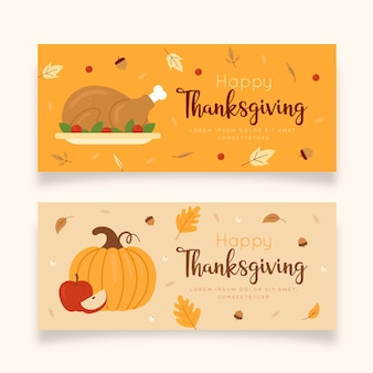 Flat design thanksgiving banners collection