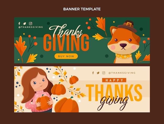 Flat design of thanksgivingbanners horizontal