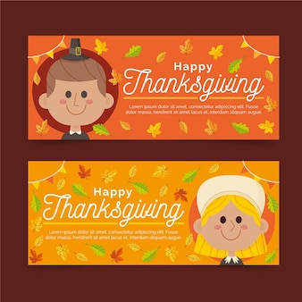 Flat design thanksgiving banners pack