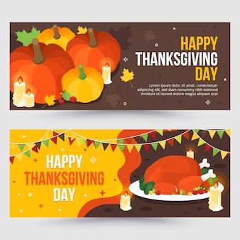 Flat design thanksgiving banners set