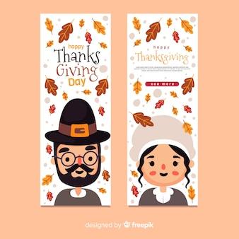 Flat design thanksgiving banners template