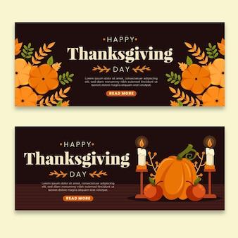 Modello di banner di ringraziamento design piatto