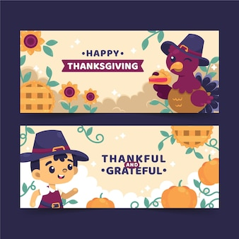 Flat design thanksgiving banners template
