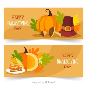Flat design for thanksgiving banners
