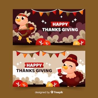 Flat design thanksgiving bannersa template