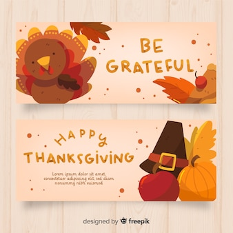 Flat design thanksgiving day banner set