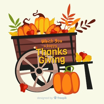Flat design thanksgiving harvest background