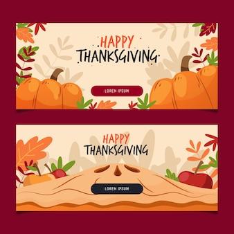 Flat design thanksgiving horizontal banners
