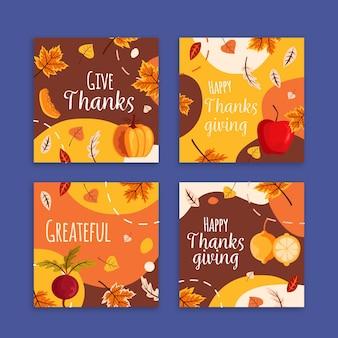 Collezione di post instagram ringraziamento design piatto