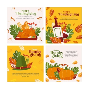 Flat design thanksgiving instagram post collection