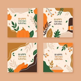 Flat design thanksgiving instagram post pack