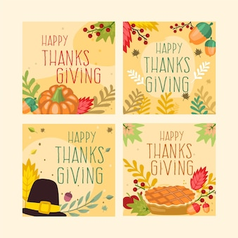 Flat design thanksgiving instagram post