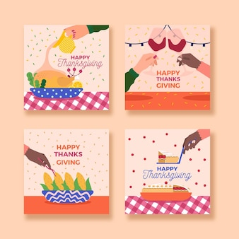 Flat design thanksgiving instagram posts