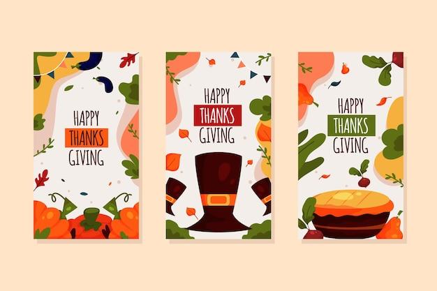 Flat design thanksgiving instagram stories collection