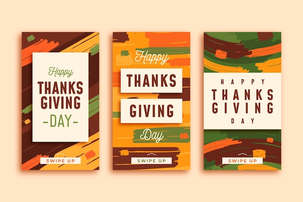 Flat design thanksgiving instagram stories collection