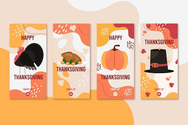 Коллекция историй благодарения instagram в плоском дизайне