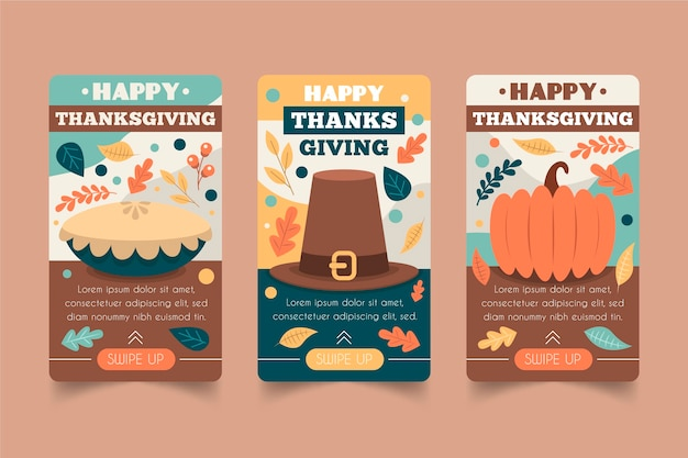 Set di storie di instagram di ringraziamento design piatto