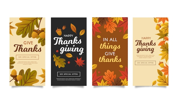 Flat design thanksgiving instagram stories template