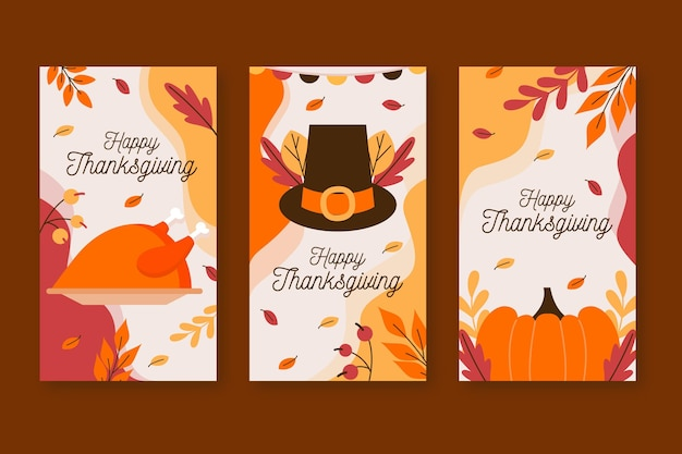 Flat design thanksgiving instagram story set