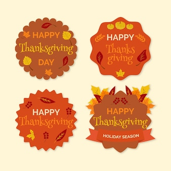 Flat design thanksgiving label / badge collection