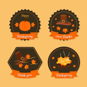 Flat design thanksgiving label / badge pack