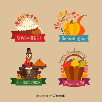 Flat design thanksgiving label collection
