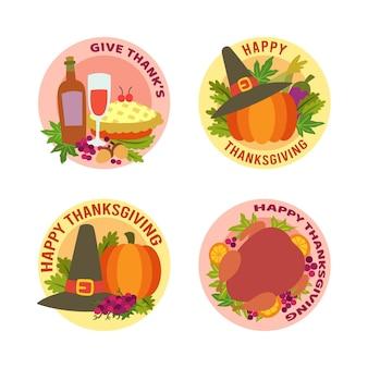 Flat design thanksgiving label pack