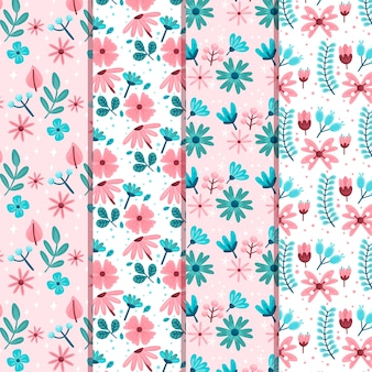 Flat design thematic spring pattern collection