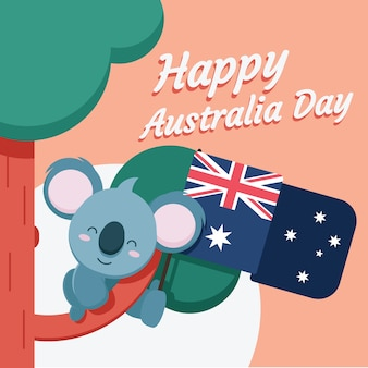 オーストラリアの日のお祝いのためのフラットなデザインテーマ