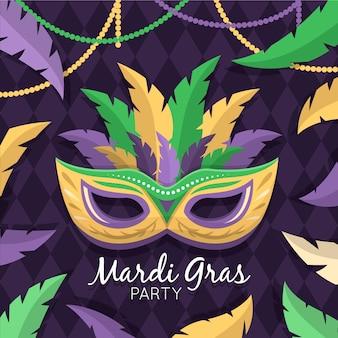 Flat design theme for mardi gras event