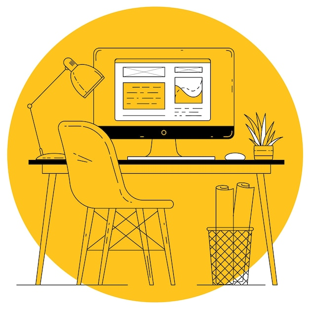Flat design thin line vector office worplace on yellow background