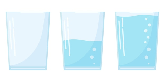 Flat design three water glass icon set in cartoon style isolated on white background, full, half and empty soda glass.
