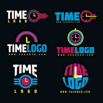 Flat design time logo collection