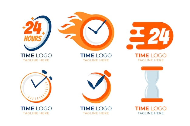 Flat design time logos pack