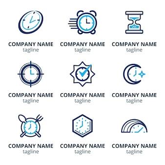 Flat design time logos pack