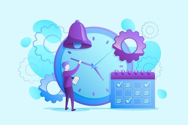 Плоский дизайн иллюстрации тайм-менеджмента
