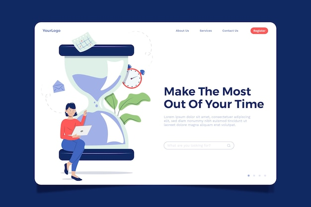 Flat design time management landing page template