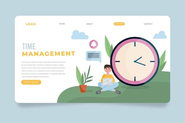 フラットデザインの時間管理のランディングページ