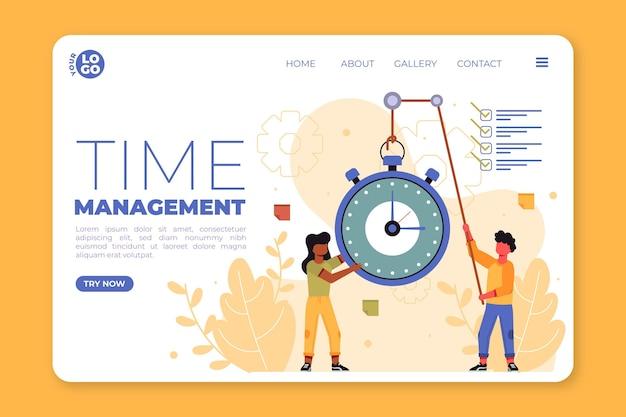 Modello web di gestione del tempo design piatto