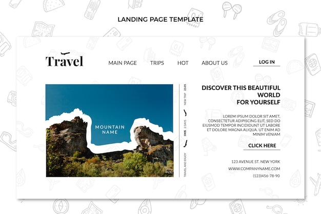 평면 디자인 시간 여행 방문 페이지