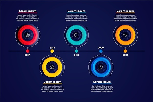 다른 색상의 평면 디자인 타임 라인 인포 그래픽