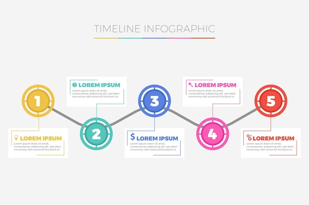 フラットデザインのタイムラインのインフォグラフィックテンプレート